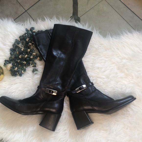 Glacee Brown leather chunky heel boots